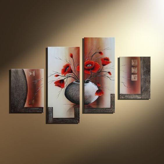 Cuadros Con Relieve Flores Modernos Tripticos Polipticos 2262 - Cuadros-en-relieve-modernos