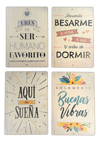 Frases Cuadritos Cuadros De Pared Set X 10 Unidades