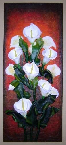 cuadros de flores en relieve