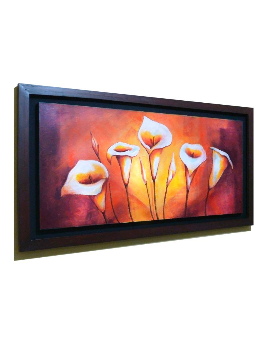 Cuadros de flores modernos 140x60 con o sin marco madera for Cuadro cristal sin marco