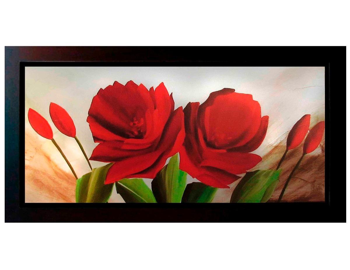 Cuadros de flores modernos 140x60 con o sin marco madera - Marcos de cuadros para fotos ...
