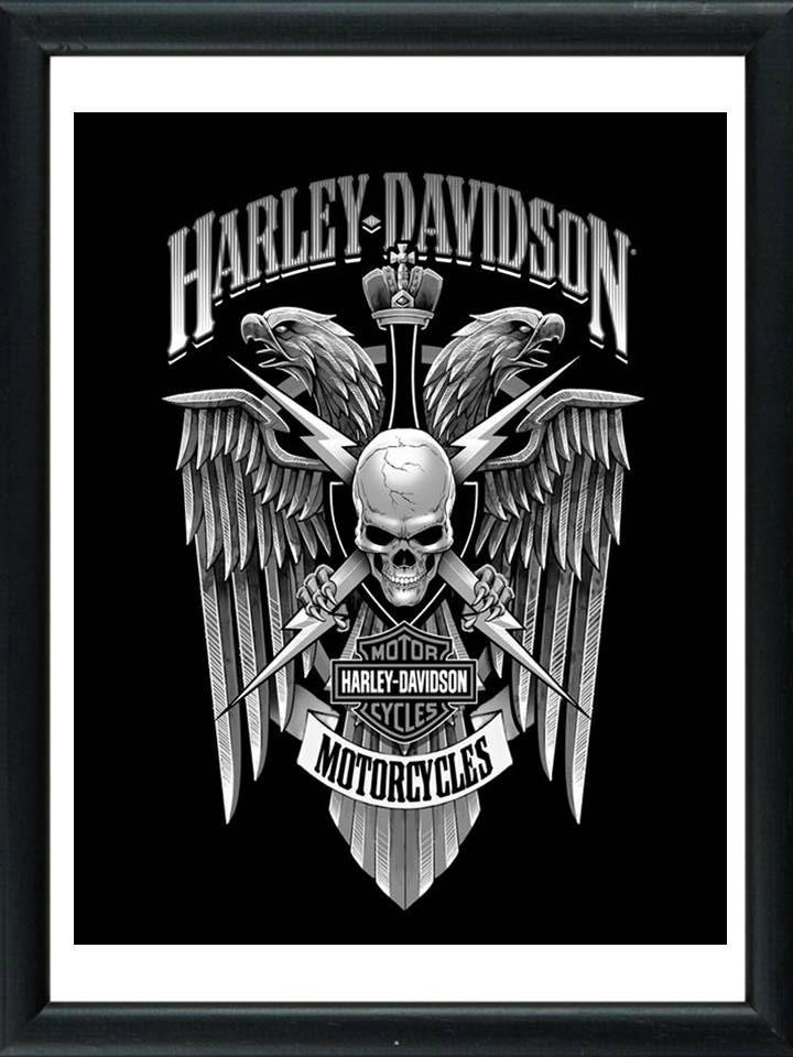 Cuadros De Harley! Marco Madera+vidrio+foto! Deco! - $ 549,00 en ...