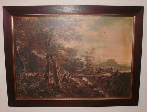 cuadros de paisajes en lamina con marco de madera cada uno $