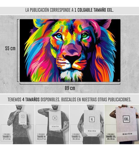 cuadros deco moderno leon de colores decoracion tamaño xxl