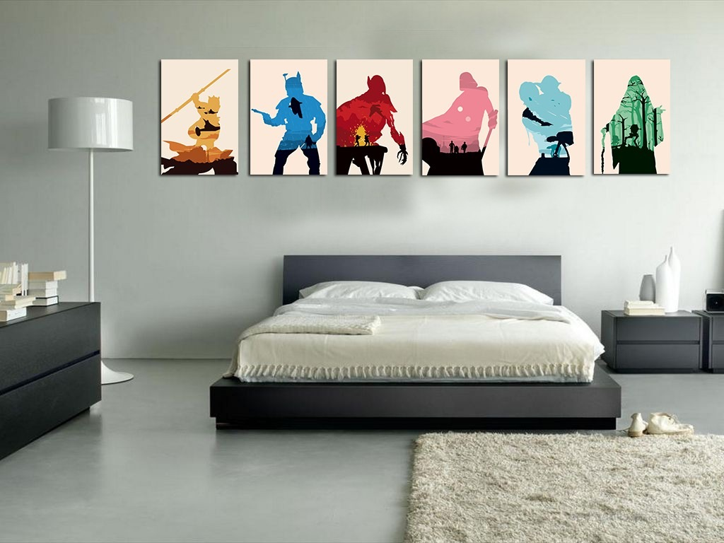 set 6 cuadros star wars geek decoracion hogar alta calidad