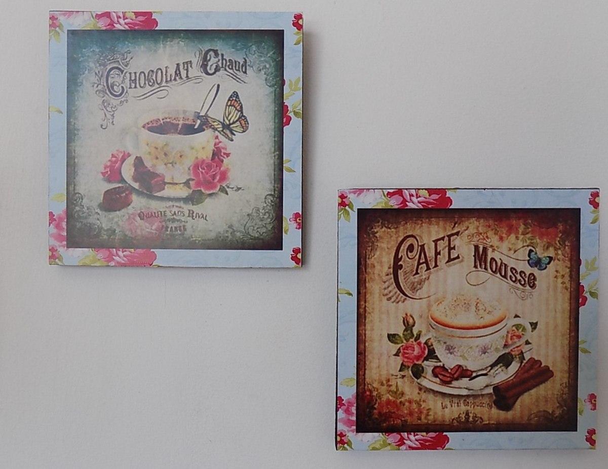 cuadros decorativo para cocina vintage 2 pz 20x20