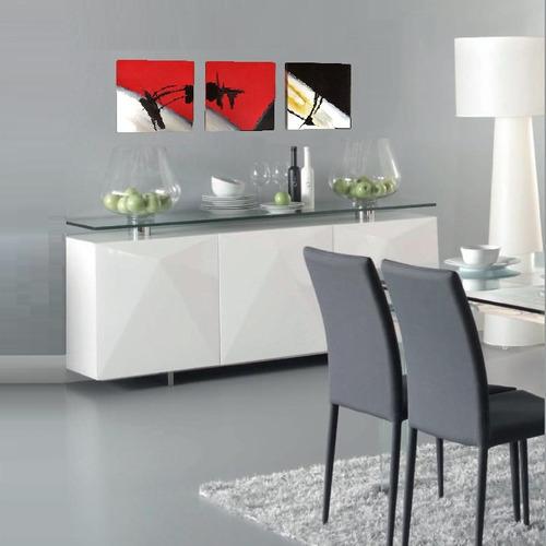 cuadros decorativo sala a mano rojo negro gris blanco ocre