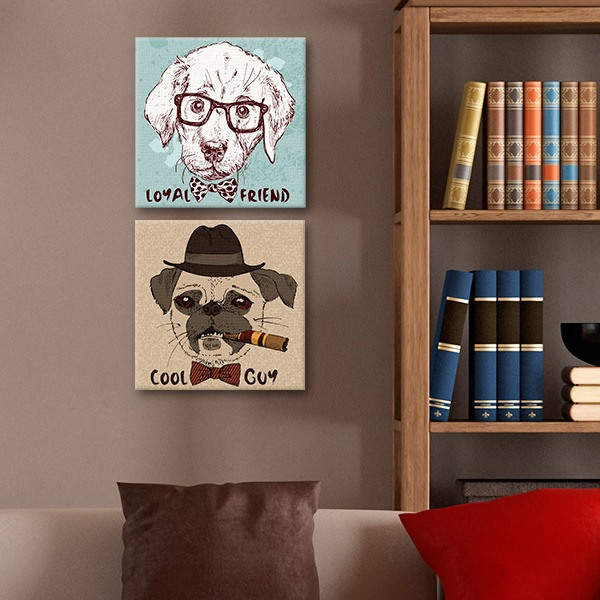 Cuadros decorativos 2 pz 30x30 dogs hipster en for Cuadros decorativos clasicos