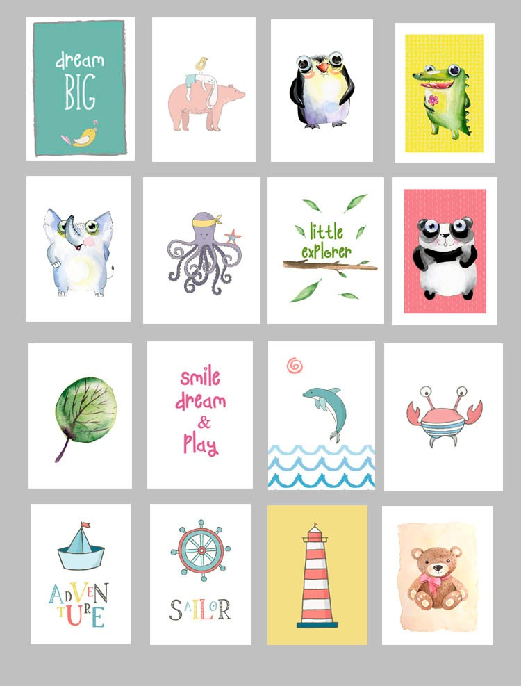 Cuadros Decorativos Animales Cuartos De Nenes Nenas 13 X 18 - $ 225 ...