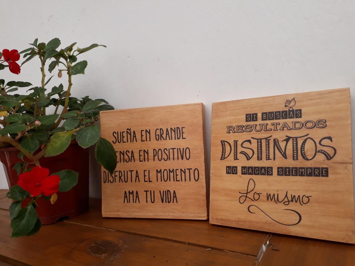 Cuadros Decorativos Artesanal De Madera Frases 15 X 15 Cm