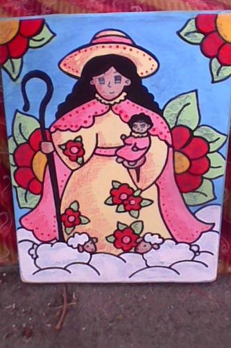 cuadros decorativos artesanales santos y virgenes mdf 20 x20