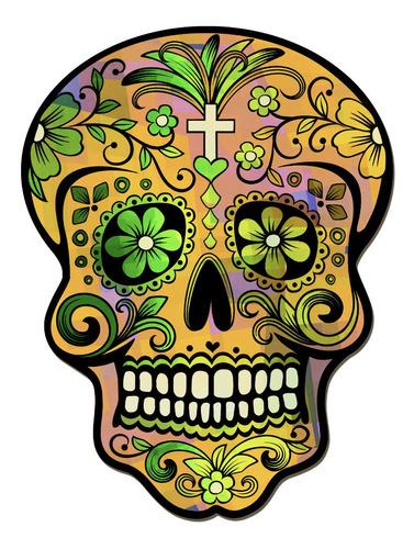 cuadros decorativos calavera mexicana amarilla 22x30cm