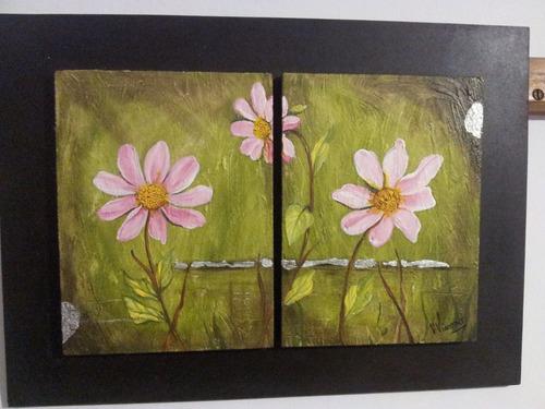 cuadros decorativos dipticos flores en acrilico 30 x 40 cm.