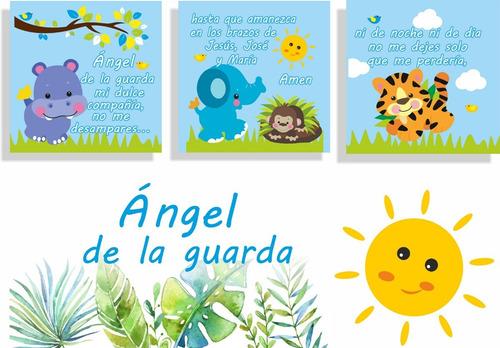 cuadros decorativos elefantes y angel de la guarda bebes