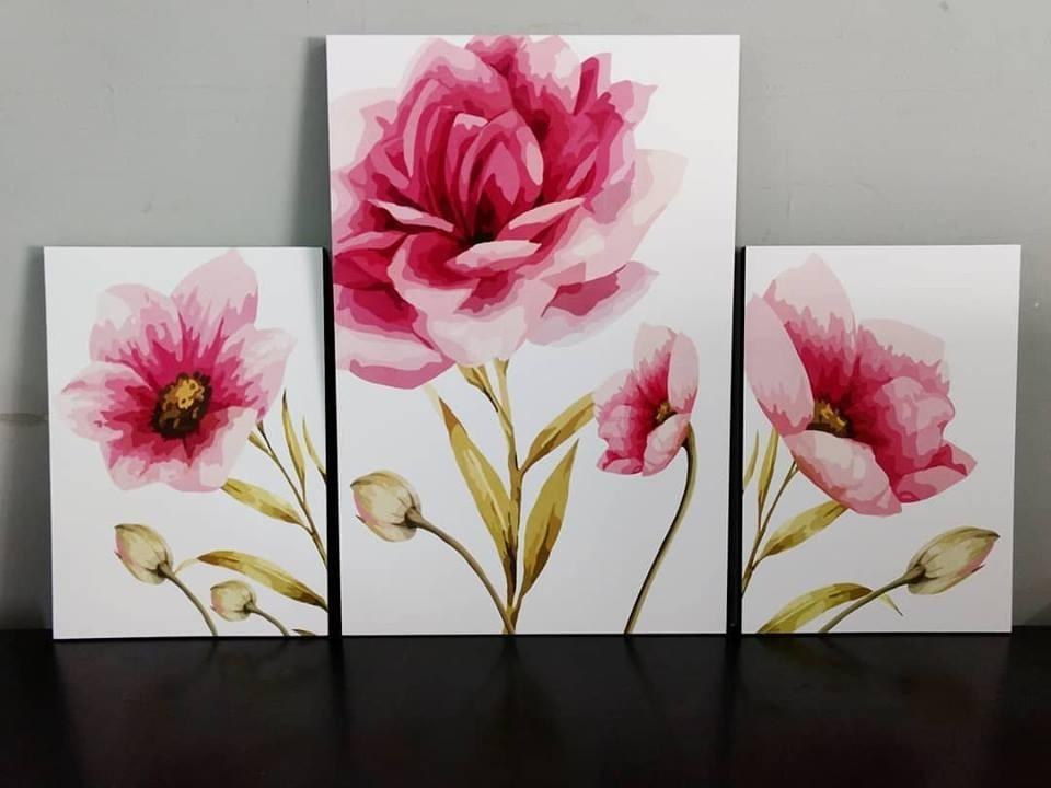 Cuadros Decorativos Flores Abstracto Montados Sobre Madera