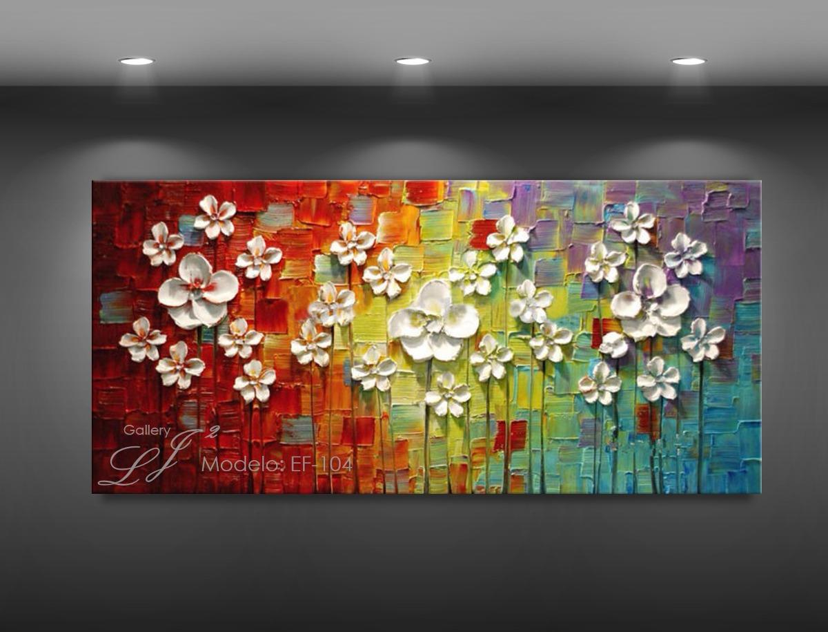 Cuadros Decorativos Flores Oleo Con Espatula Personalizado