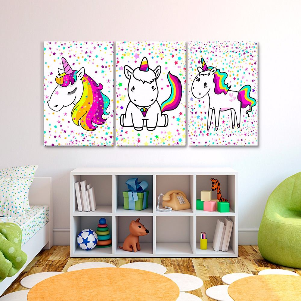 Cuadros decorativos joss design unicornio set de 3 pzs - Decoracion con cuadros ...