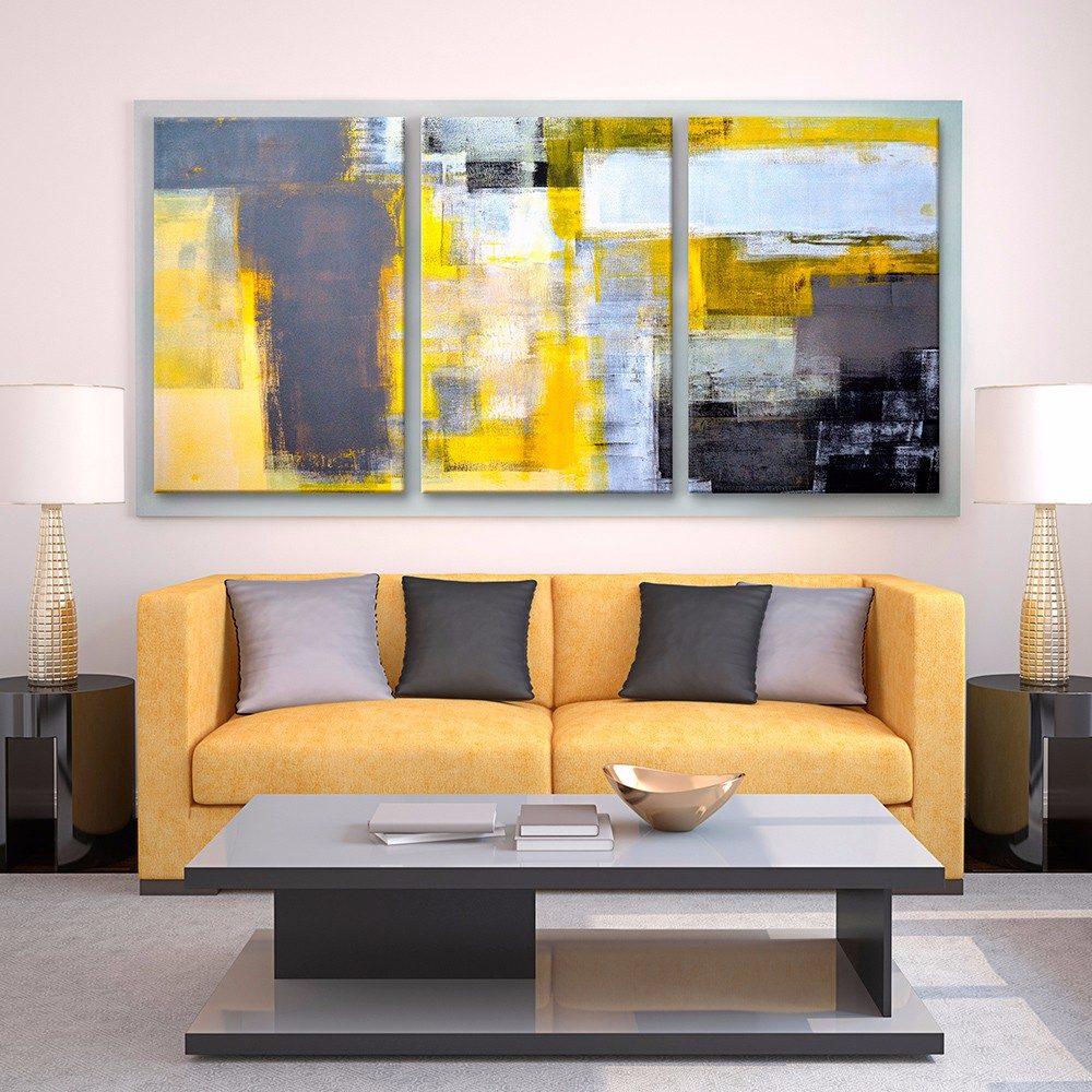 Cuadros decorativos jossdesign amarillo gris setde3pzs - Cuadros en salones ...