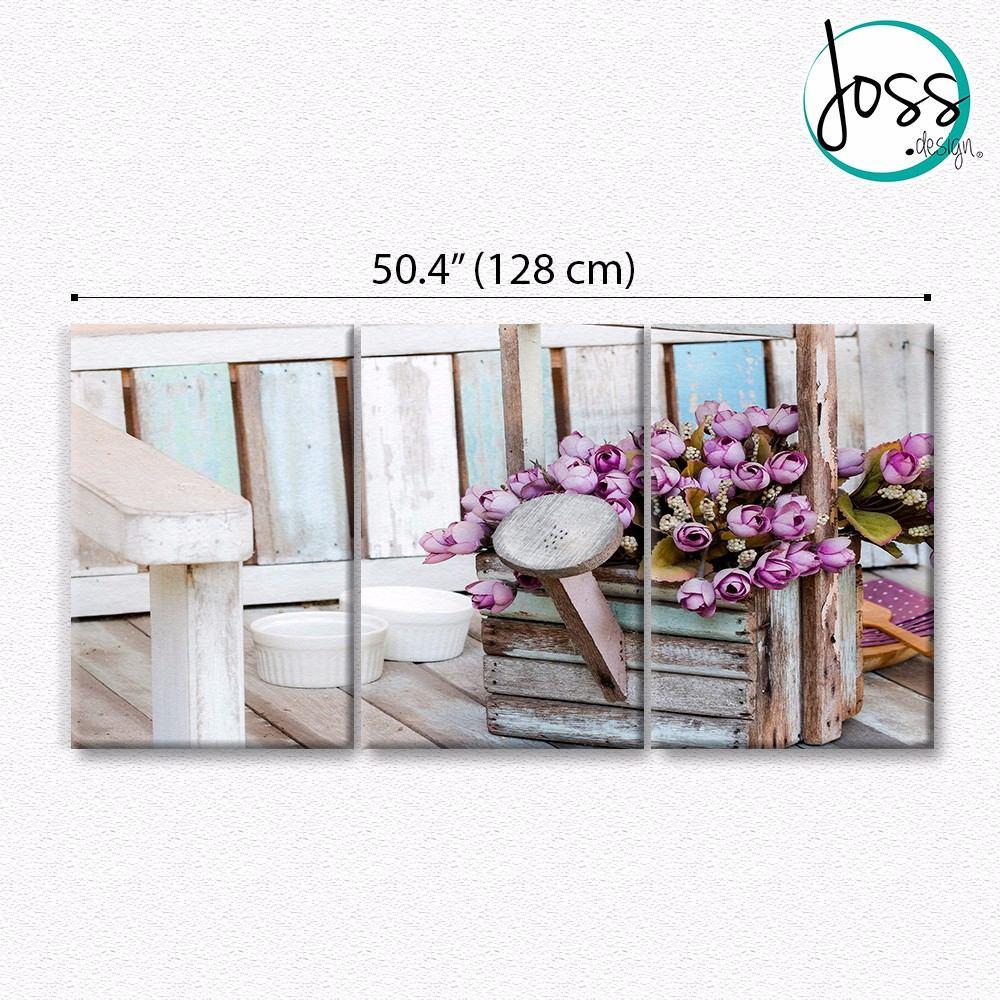 Cuadros decorativos maceta con flores shabby chic 3 pz 40x60 en mercado libre - Cuadros shabby chic ...