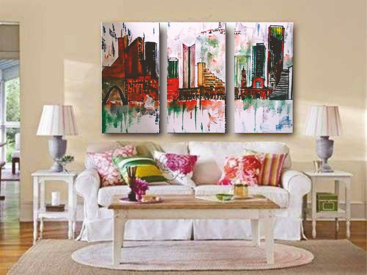 Cuadros decorativos modernos tripticos ciudades 92 x 70 for Cuadros en country para comedor