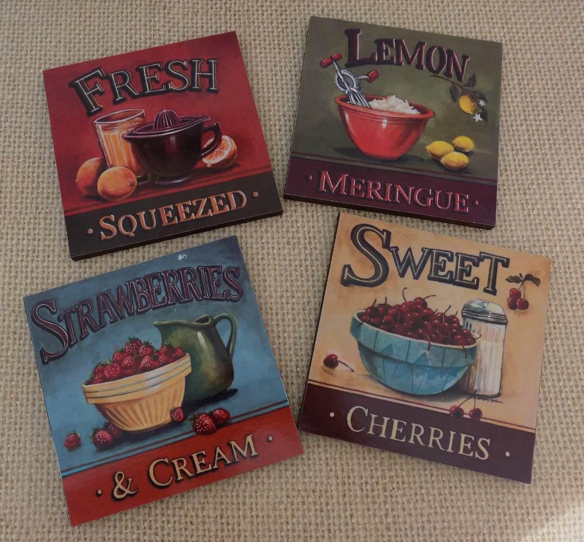 Cuadros decorativos para cocina vintage 4 pz 20x20 for Cuadros para cocina vintage