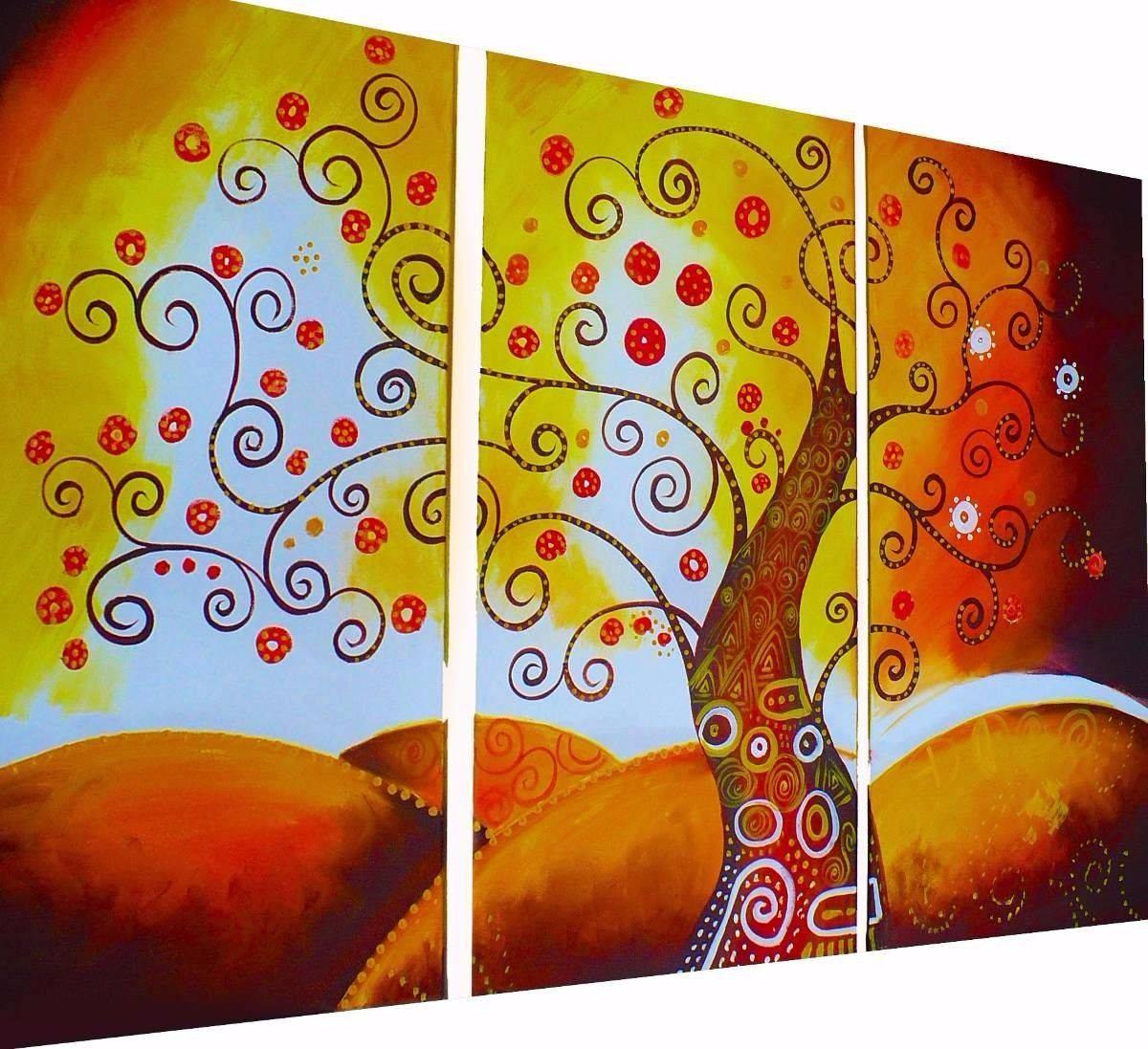cuadros decorativos pintados a mano modernos living