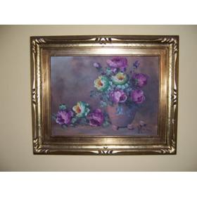 Cuadros Decorativos Rosas  Marcos Dorados (precio Unitario)