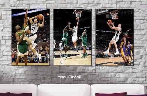 cuadros decorativos trípticos basquet a elección xl 90x44 cm