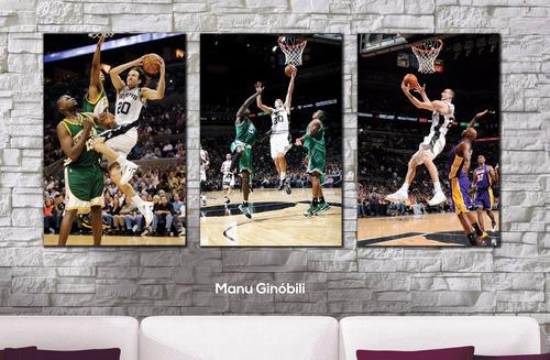 cuadros decorativos trípticos basquet a elección xl 93x44 cm
