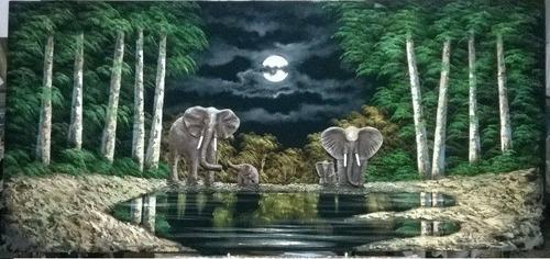cuadros  elefantes  sobre tela con aplicaciones y texturas