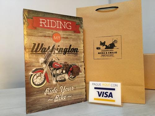 cuadros en mdf motocicletas motos tipo vintage regalo hombre