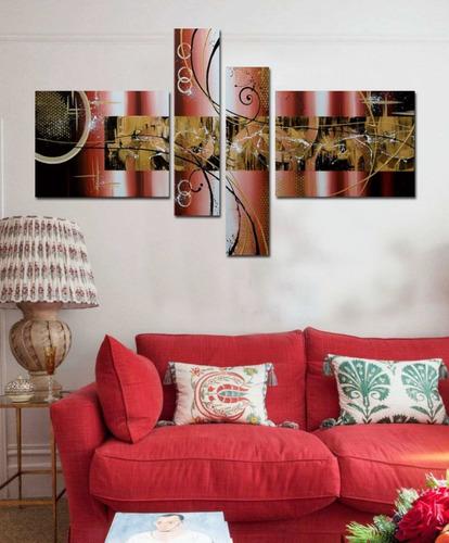 cuadros en piezas en tonos tierra, al oleo, sala