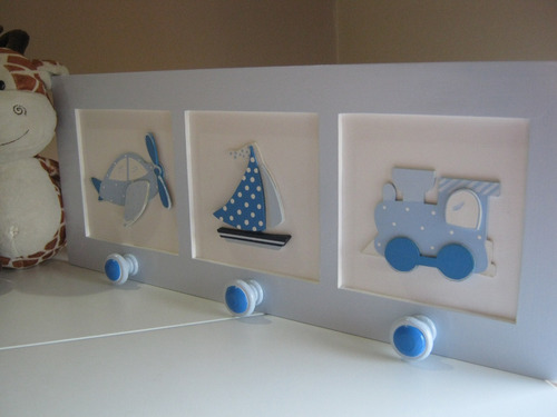 cuadros en  relieve-perchero-cuadritos infantiles pintados
