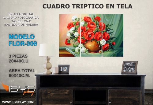 cuadros en tela 60x40cm triptico tema flores distintos model
