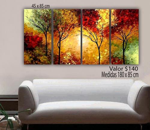cuadros florales, árboles semi abstractos texturados.