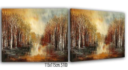 cuadros florales, árboles y paisajes abstractos texturados.