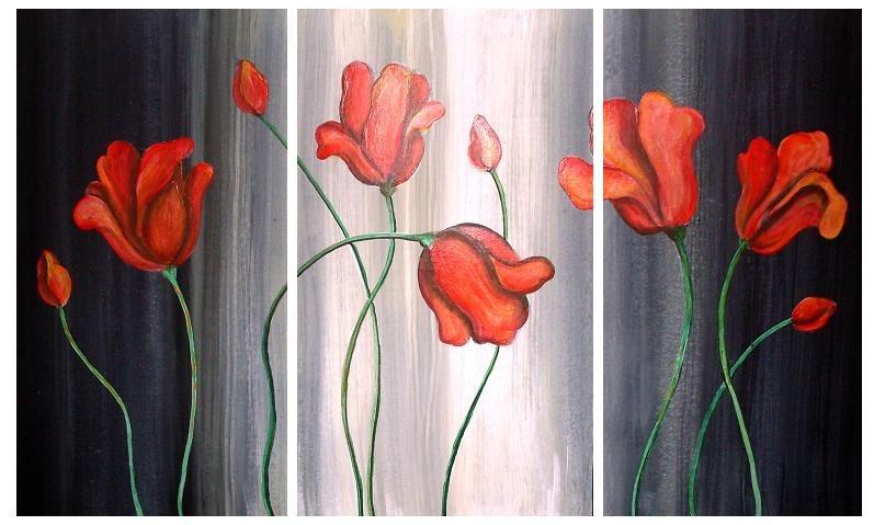 Cuadros florales dipticos tripticos modernos - Cuadros florales modernos ...