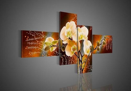 cuadros florales dipticos tripticos modernos, texturados