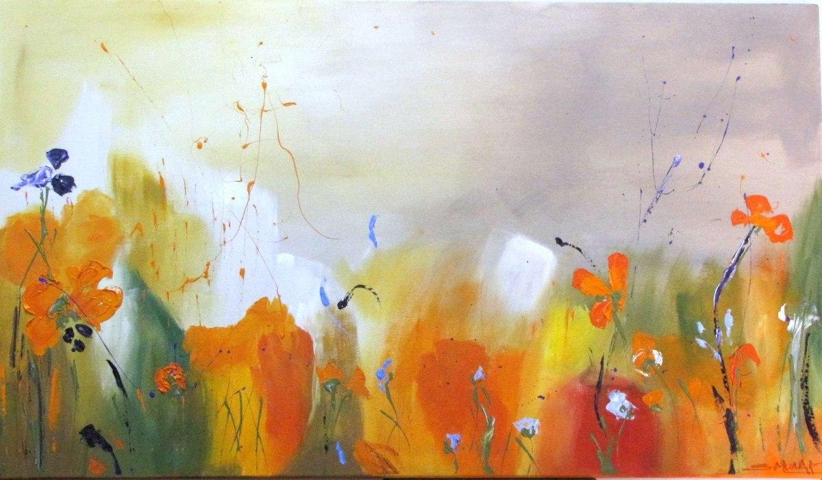cuadros flores abstractos y decoracion