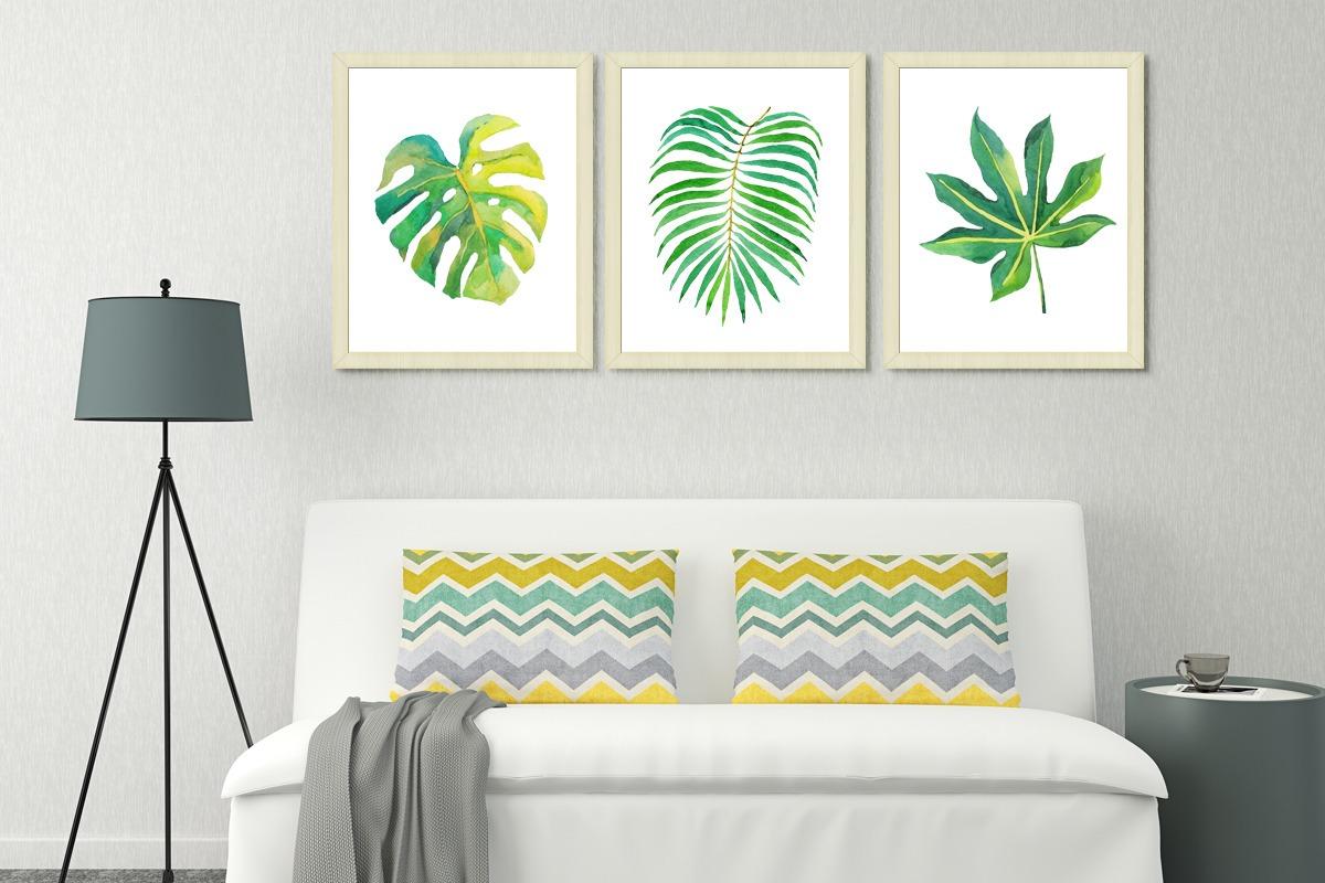 Cuadros Hojas Tropic. 40 X 50 Cm Marco Madera C/vidrio Deco - $ 700 ...