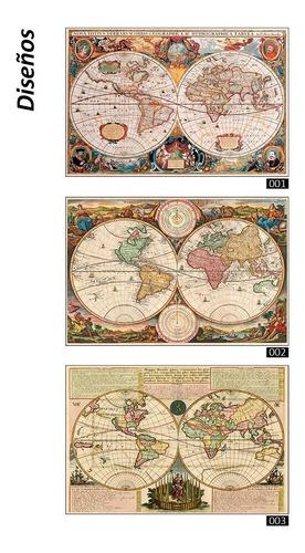 cuadros impresos. mapas planisferio mapamundi 90x60cm