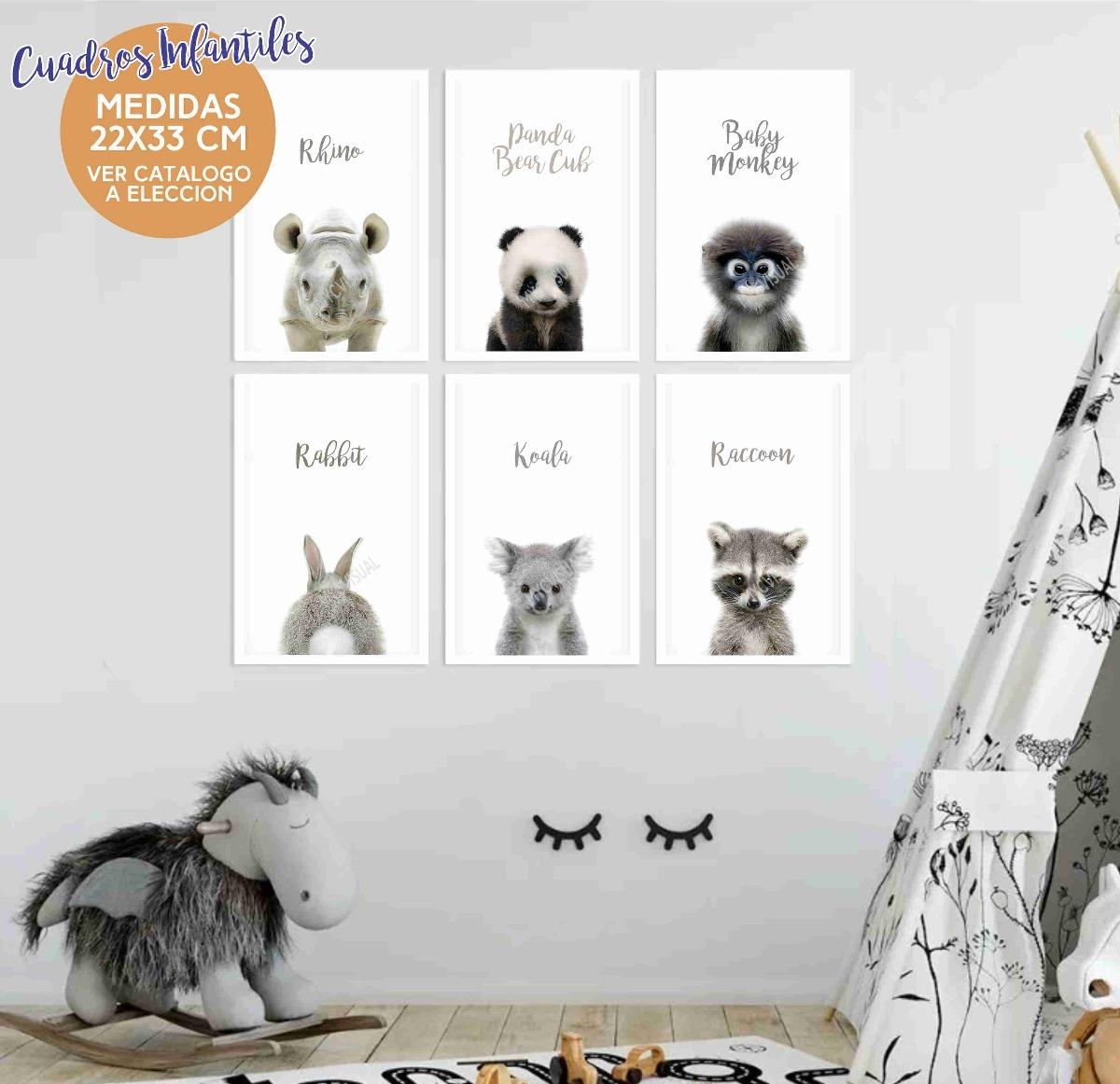 Cuadros Infantiles Animales Fotos Nordicos 22x33 Cm Set 6 Un - $ 720 ...