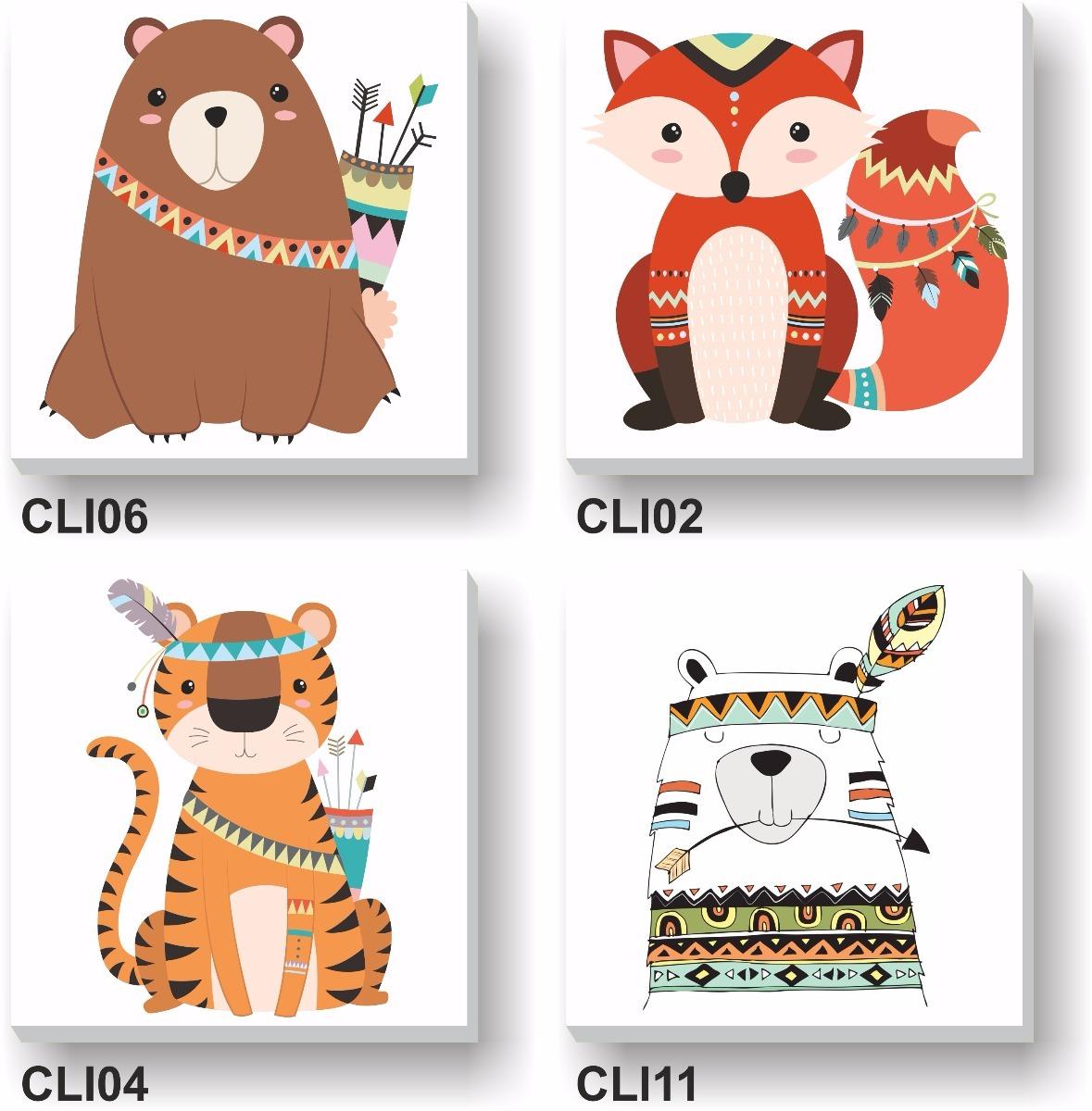 Cuadros Infantiles Lienzo 20 X 20 Cm Animales Oso Tigre Mono  # Muebles Tigre Infantiles