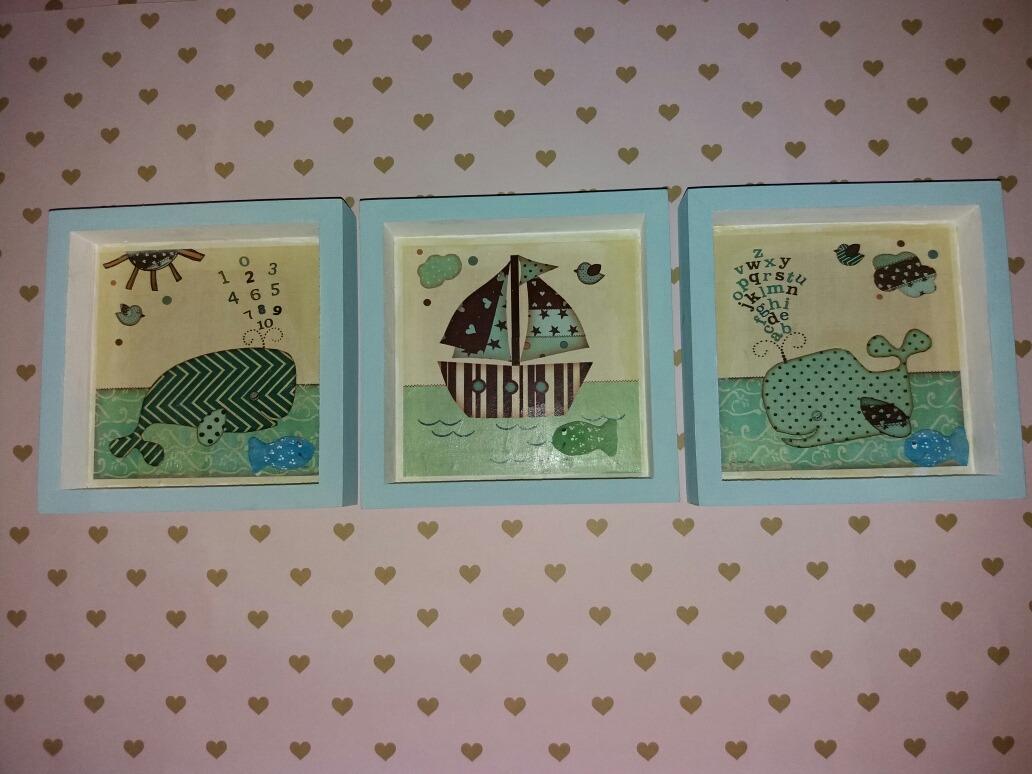 Cuadros Infantiles X 3 U Marcos Box Diseños Náuticos Nenes - $ 600 ...