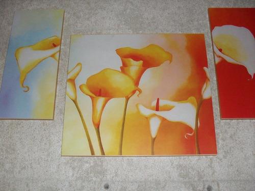 cuadros las calas - triptico rosas y flores deco atlp