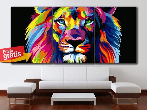 cuadros leon de colores deco decoracion 64x30cms catalogo