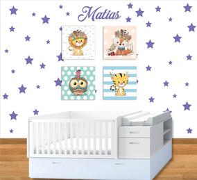 Cuadros Lienzo Y Estrellas Decoración Cuarto Bebe Niño Niñas