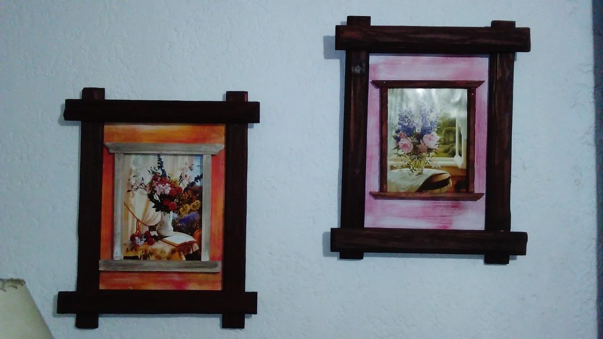 Cuadros marcos rusticos artesanales en madera for Imagenes de cuadros abstractos rusticos