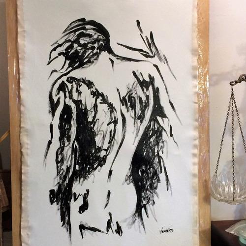 cuadros minimalista figurativo lienzo negro silueta 1 hombre