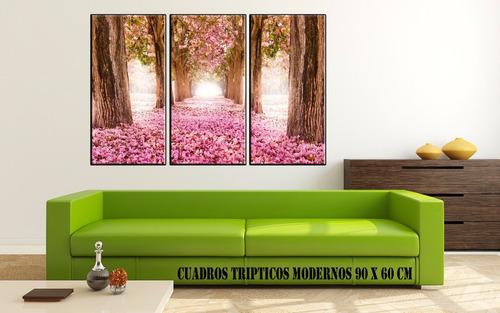 cuadros modernos abstractos paisajes tripticos lienzo canvas